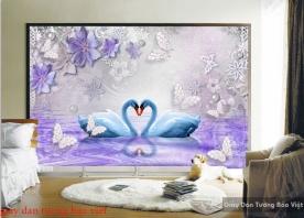 Giấy dán tường phòng ngủ màu tím FL139