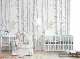 Giấy dán tường phòng ngủ rừng cây d219