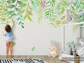 Giấy dán tường phòng trẻ em màu xanh v180