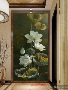 Decal dán kính hoa sen D072