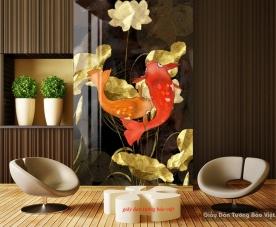 Tranh dán kính cá chép hoa sen