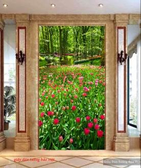 Tranh dán kính hình vườn hoa hồng k144