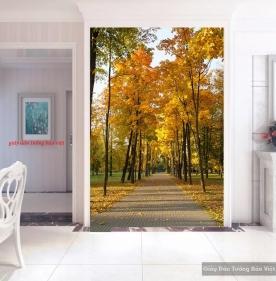 Tranh dán kính phong cảnh mùa thu k176