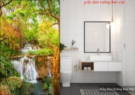 Tranh dán kính thác nước cho phòng tắm k171