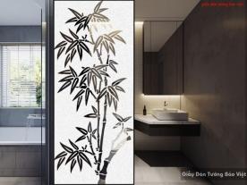 Decal dán kính mờ cây tre cho phòng tắm art017