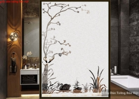 Decal dán kính mờ nghệ thuật cho phòng tắm art018