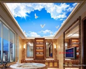 Tranh dán trần nhà bầu trời xanh c119