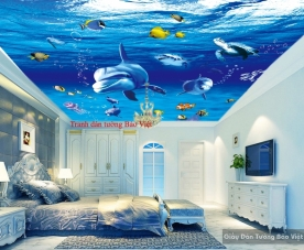 Tranh dán trần nhà đại dương S117