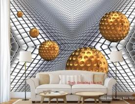Tranh dán tường 3D hình cầu 3D-05