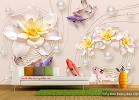 Tranh dán tường 3D hoa sen FL106