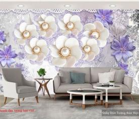 3D wall paintings in imitation purple pearl FL164