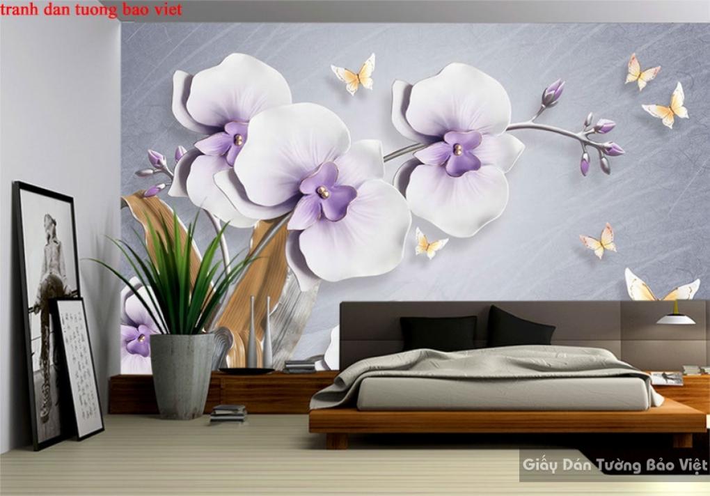 Tranh dán tường 3d hoa lan h232