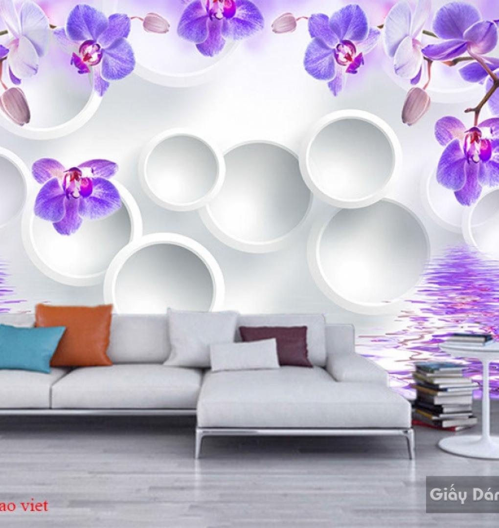 Tranh dán tường 3d màu tím 144
