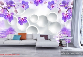 Purple 3d wall paintings 144