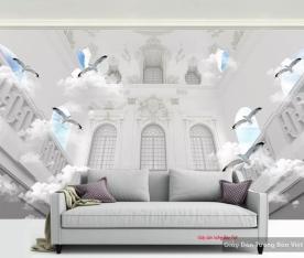 Tranh dán tường 3d màu trắng v156