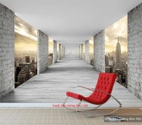 Tranh dán tường cảnh thành phố 3D-073