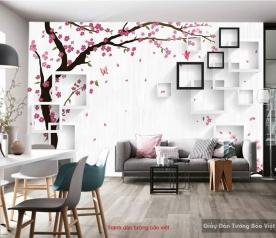 Tranh dán tường cay hoa đào 3D-077