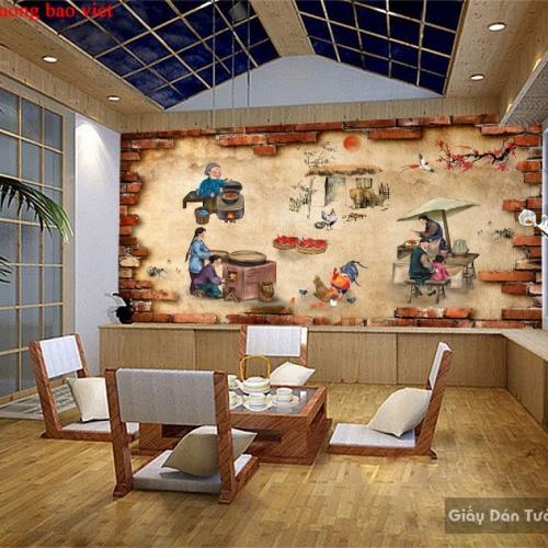 Tranh dán tường cho quán ăn Fm399
