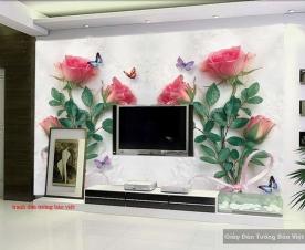 Tranh dán tường hoa hồng 3D H166
