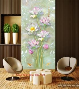 Tranh dán tường hoa sen 3D K096