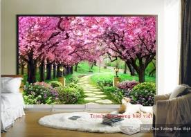Tranh dán tường phong cảnh 3D H132
