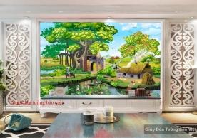 Tranh dán tường phong cảnh đồng quê đẹp Art004