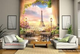 Tranh dán tường phong cảnh paris fm334