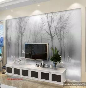 Tranh dán tường trắng đen 3D-069