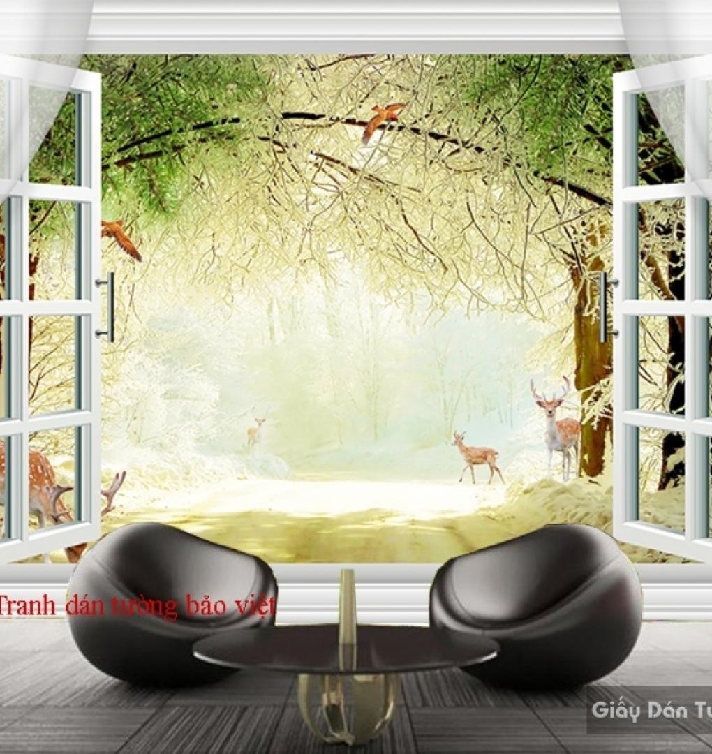 Tranh dán tường 3D cửa sổ Fi046