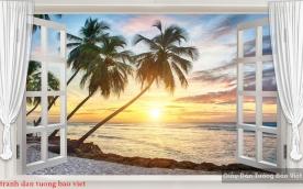 Tranh dán tường 3d cửa sổ S200