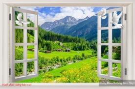 Tranh dán tường 3d cửa sổ phong cảnh m064