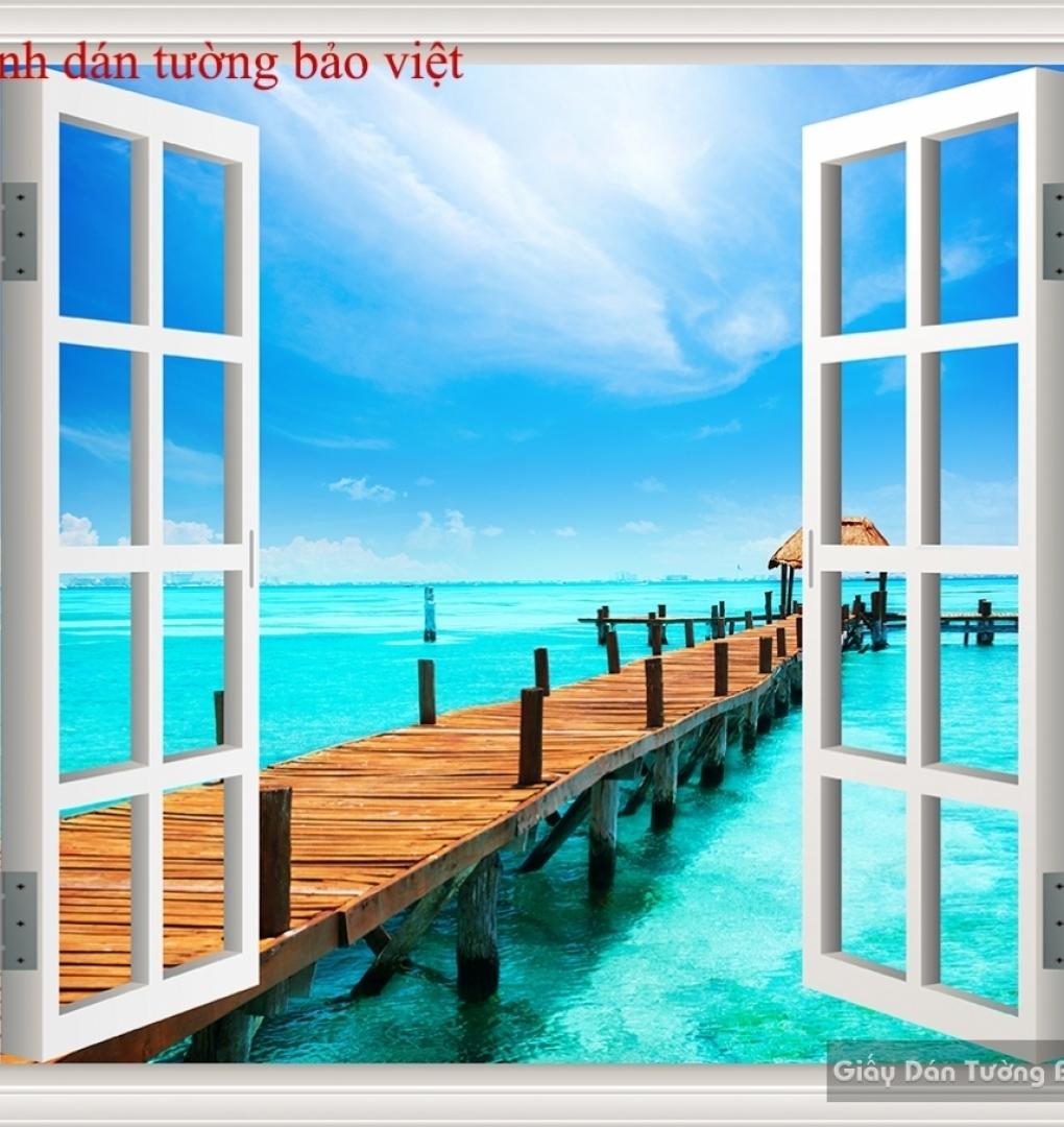 Tranh dán tường cửa sổ 3D S107