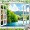 Tranh dán tường cửa sổ 3D W091