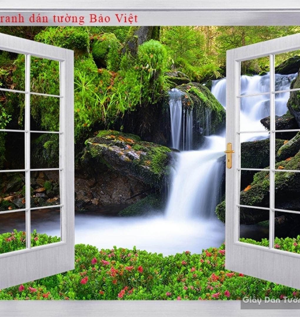 Tranh dán tường cửa sổ 3D W125