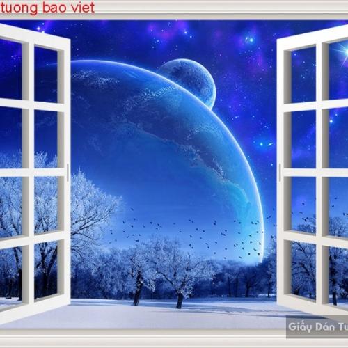 Tranh dán tường cửa sổ 3d c149