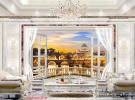 Beautiful 3d window wall paintings v107