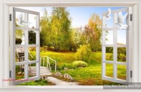 Tranh dán tường cửa sổ 3d fi081