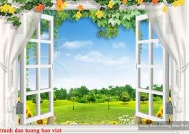 Tranh dán tường cửa sổ 3d fi105
