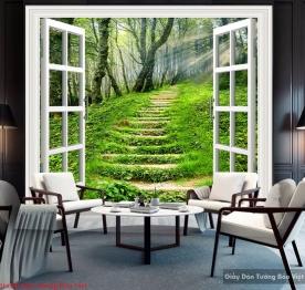 Tranh dán tường cửa sổ 3d tr253