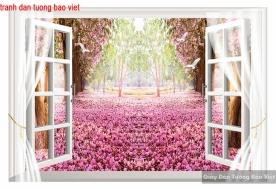 Tranh dán tường cửa sổ 3d tr265