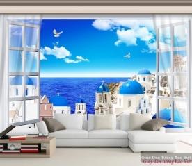 Tranh dán tường cửa sổ cảnh biển 3d v061