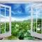 Tranh dán tường cửa sổ hoa sen H121