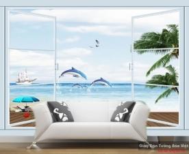Tranh dán tường cửa sổ phong cảnh biển đẹp v108