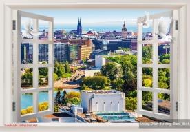 Tranh dán tường cửa sổ phong cảnh fm308
