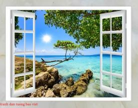 Tranh dán tường cửa sổ 3d fi118