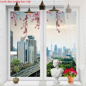 Tranh dán tường cửa sổ 3d fi119