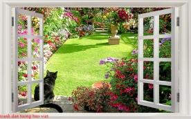 Tranh dán tường cửa sổ 3d fi125