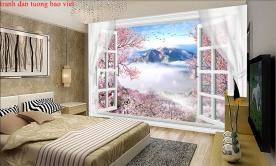 Tranh dán tường cửa sổ 3d fi136