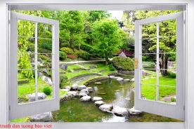 Tranh dán tường cửa sổ 3d fi141