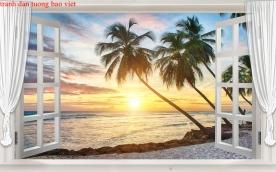 Tranh dán tường cửa sổ 3d me032
